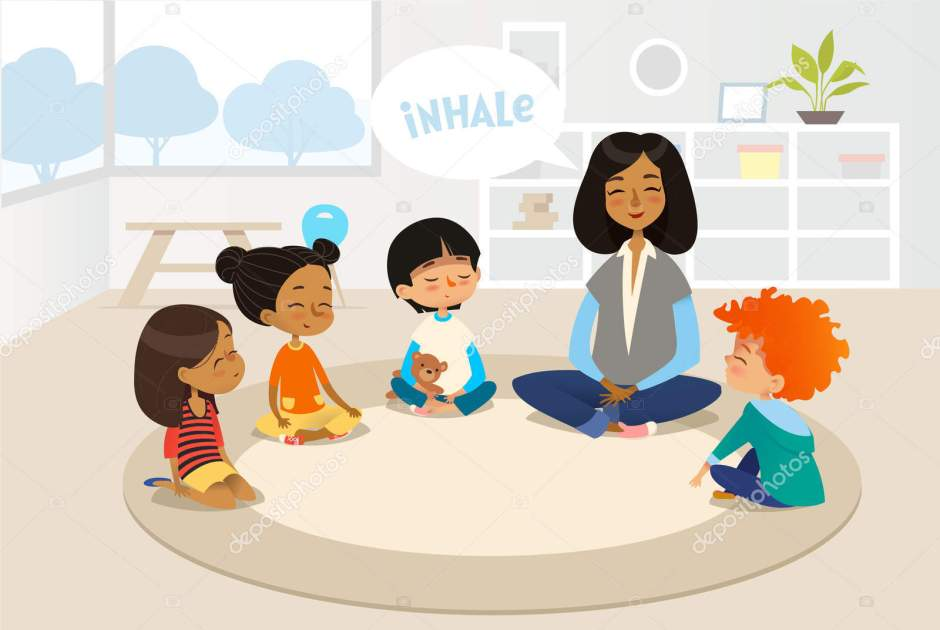 Smiling kindergarten teacher and children sitting in circle and meditating. Preschool activities and early childhood education concept. Vector illustration for banner, website, poster, advertisement.